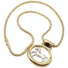 hermes two color gold horse pendant necklace for