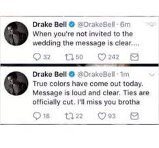 josh peck responds to drake bell's salty tweets about his non Not Invited To Wedding Hurt \u201calways remember where you came from\u201d not invited to wedding but bridal shower