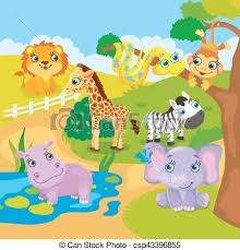 zoo animal clipart cute. Exellent Zoo Cute Cartoon Zoo Animals  Csp43396855 On Animal Clipart