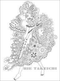 女性のイラストkurakura5モノクロ線画花と女性の