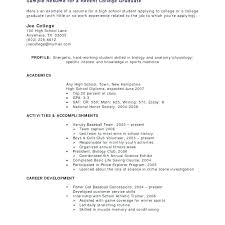 Resume Templates College Student Example Of College Resume Sample