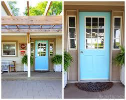 Turquoise front door Bright Aqua Turquoise Front Door Front Porch Redo By Reality Daydreams Modern Masters Non Fade Pbhsalumniorg How To Paint Your Front Door Modern Masters Cafe Blog