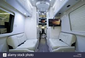 Luxury Class B Motorhome. Elegant and Modern, Light RV Interior.  Recreational Vehicle
