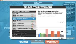 you can then select your workout and follow the on screen prompts within zwift to ensure you are hitting your workout targets