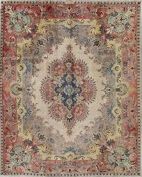 vintage persian medallion area rug ivory silver grey c oriental wool 10x13