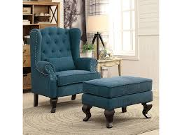 willow traditional dark teal fabric accent chair and ottoman
