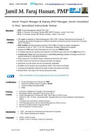 pmp certified resume sample pmp certification resume sample