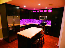 ... Under Cabinet Lights Led Pink Colored Light White Marble Top Table  Stainless Faucet Sink Black Stained ...