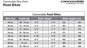Cannondale Bike Fit Chart Cannondale Bike Size Chart New Cannondale Supersix Evo W 105
