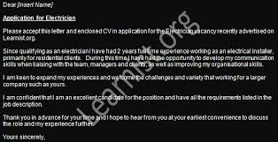 electrician job application cover letter example   job seekers forumsview more job application letters