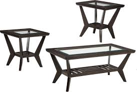 Dark Wood Frame Coffee Tables Set With Glass Inserts