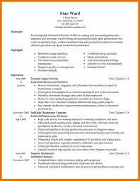 Maintenance Mechanic Resume Examples Of Resumes Objective