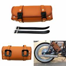 mayitr pu leather brown motorcycle luggage tool bag weatherproof handle bar barrel storage pouch leather bicycle saddle bags leather covered hard saddlebags