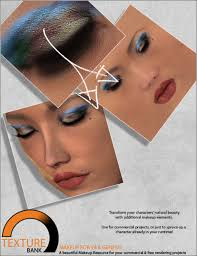 texture bank vol 15 v4 and genesis makeup in resources and add ons 3d