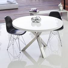 Round Table Seating Capacity Minimalist Round White Dining Table Metal Material Powder Coated