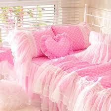 cute pink polka dot bedding set teen girl cotton twin full queen king single double home textile bedskirt pillowcase quilt cover comforter king blue duvet