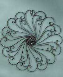 rustic scroll metal wall art medallion iron antiqued weathered victorian porch