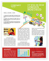 School Bus As Childish Picture Newsletter Template For Microsoft