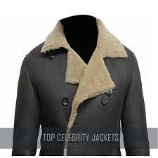 handmade men black shearling leather jacket