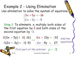 elimination math solving systems of equations using