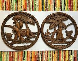 vintage syroco wood wall plaque mexico
