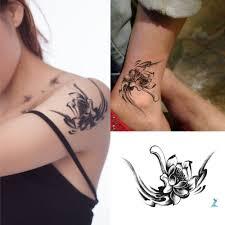 Yeeech Tatuaggi Temporanei Adulto Fiore Nero Piccolo Loto Per Donne