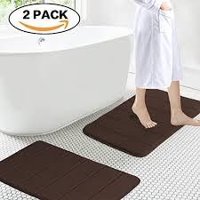 soft non slip absorbent bath rugs memory foam two pieces bath mats by flamingop brown striped pattern size w17 xl24 wantitall