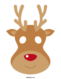 Small Picture Reindeer mask templates including a coloring page version of the