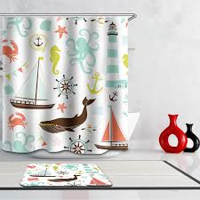 homing colorful summer sea joyful animal fish pattern waterproof shower curtain kids polyester bath cozy cool shower curtains for kids a5 curtains
