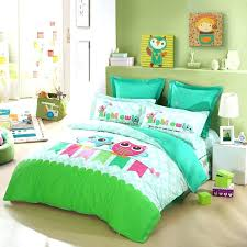 lime green duvet cover blue and bedding sets turquoise pink cartoon night owl print jungle animal nature kids super king