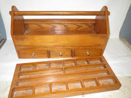 old vintage wood tool box carry caddy with handle tray drawers 1811237103