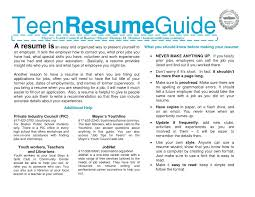 How To Make A Resume For A Teenager First Job Resume Resume Template Teenager 93