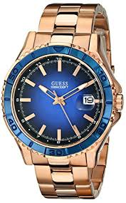guess men s u0244g3 color sport blue dial rose gold tone watch guess men s u0244g3 color sport blue dial rose gold tone watch
