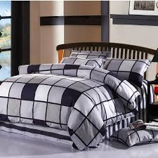 100 cotton twom full queen king size black white plaid bedding sets kids boy bedclothes