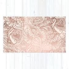 modern rose gold fl ilration on blush pink rug sheepskin