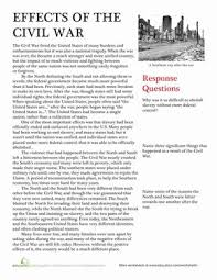 effects of the civil war american history nonfiction and civil wars a nonfiction passage and some essay questions help students understand the effects of the civil war in this american history worksheet us history