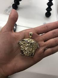 10k solid gold medusa head pendant xl size