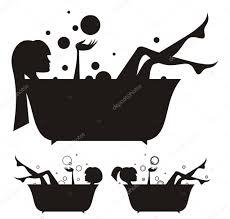 girls in the bath stock vector
