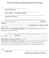 Sample Notice Of Termination Of Attorney And Request For Accounting Form