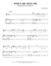 Song lyrics to broadway show. Sara Bareilles When He Sees Me Solo Version From Waitress The Musical Sheet Music Pdf Notes Chords Broadway Score Piano Vocal Download Printable Sku 429239
