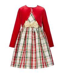 Bonnie Jean Big Girls 7 16 Velvet Cardigan Plaid Fit Flare Dress Set