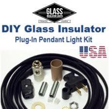 insulator swag light kit plug in pendant lights parts kit diy glass insulator light