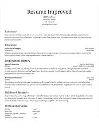 Standard Resume Template 5 Select Template Improved Traditional
