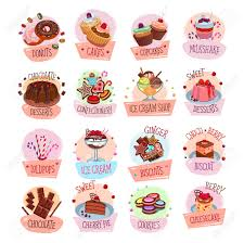 Bakery Shop Sweets And Desserts Icons For Cafeteria Menu Vector