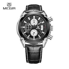 luxury top brand megir leather strap band watches men relogio luxury top brand megir leather strap band watches men relogio masculino quartz movement clock relojes 2020