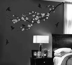 ... Interior Design, Interior Enchanting Gray Color Base Floral And Mural  Pattern Bedroom Accent Wall Design ...
