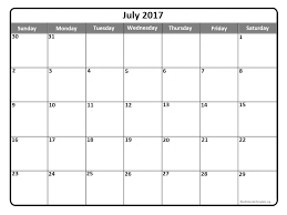 Blank July 2017 Calendar | weekly calendar template