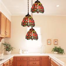 3 light dragonfly pattern tiffany style mini pendant lights pertaining to prepare 18