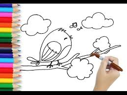 art for kids learn how to draw bird drawing and coloring for children with nursery rhymes