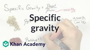 Specific Gravity Video Fluids Khan Academy